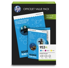 Komplet tinta HP 1CC21AE nr.953XL (plava, ljubičasta, žuta) + foto papir, original