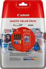 Komplet tinta Canon CLI-551 (BK/C/M/Y), original + papir (6508B005AA)