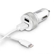 Auto punjač Port 2x USB + Lightning kabel