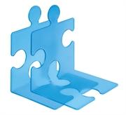 Stalak za knjige/CD-e Puzzle, prozirna plava boja, 2 komada