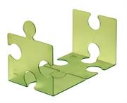 Stalak za knjige/CD-e Puzzle, prozirna zelena boja, 2 komada