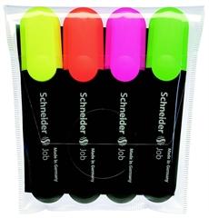 Marker Schneider Fluo Job, komplet, 4 boje