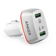Punjač za auto USB Anker PowerDrive+ QC 3.0, 2 ulaza, bijela