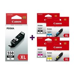 Komplet tinta za Canon CLI-551 XL (BK/C/M/Y) + PGI-550BK XL (crna), original