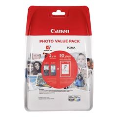 Komplet tinta Canon PG-560XL (crna) + CL-561XL (boja) + papir (GP-501), original