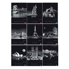 Bilježnica A4, mali karo, tvrdi omot, 96 listova, gradovi u noći