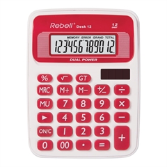 Stolni kalkulator Rebell 12 RD, bijelo-crveni