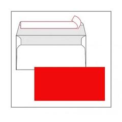 Kuverta American, u boji (crvena), 220 x 110 mm, bez prozora, 25 komada