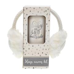 Božićni poklon set Warm sa naušnicama i šalicom to-go, bijela