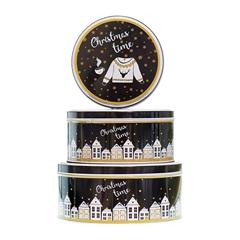 Metalna poklon kutija za kolačiće Christmas Time, 3/1