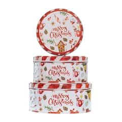 Metalna poklon kutija za kolačiće Merry Christmas, 3/1