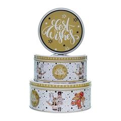 Metalna poklon kutija za kolačiće Best Wishes, 3/1