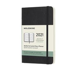 Horizontalni džepni planer 2021 Moleskine, mekane korice, 12 mjeseci, crna