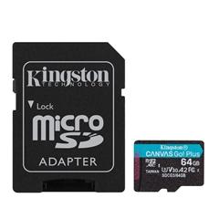 Memorijska kartica SDXC Kingston Micro Canvas Go, 64 GB + SD adapter