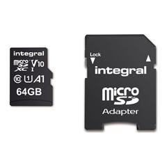 Memorijska kartica Integral microSDHC/XC V10 UHS-I U1, 64 GB + SD adapter